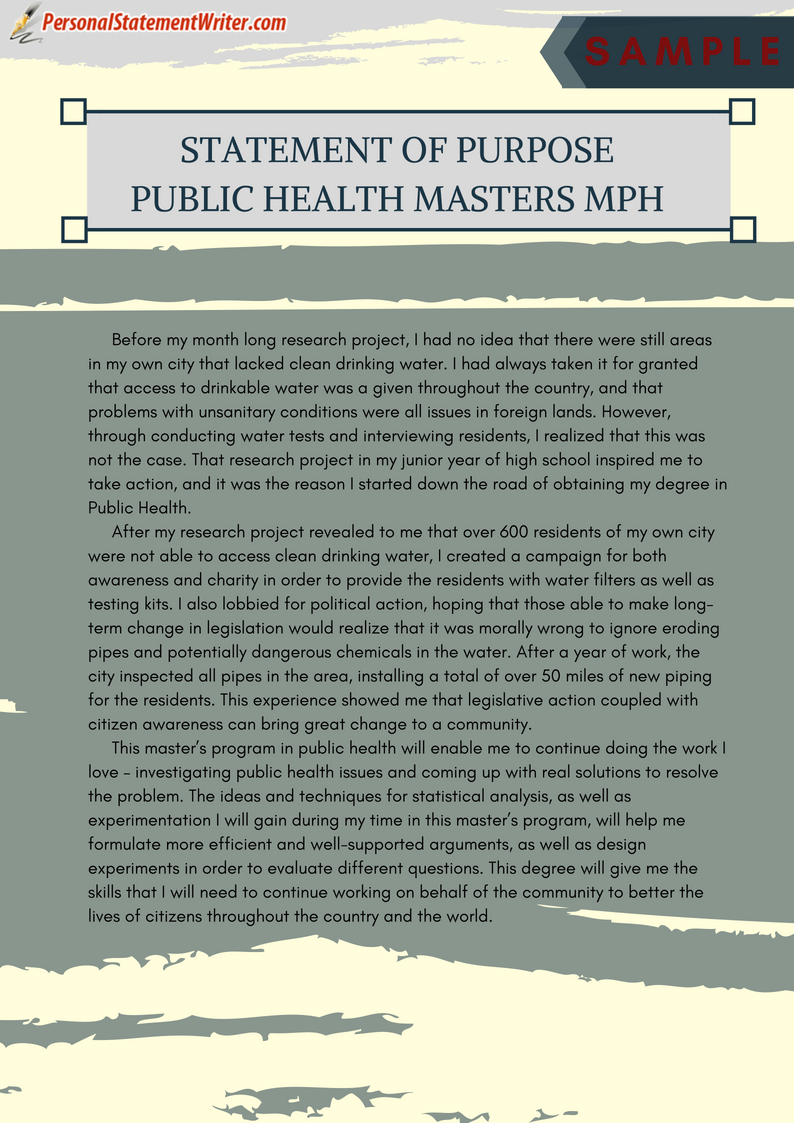 Our service provide statement purpose for public health