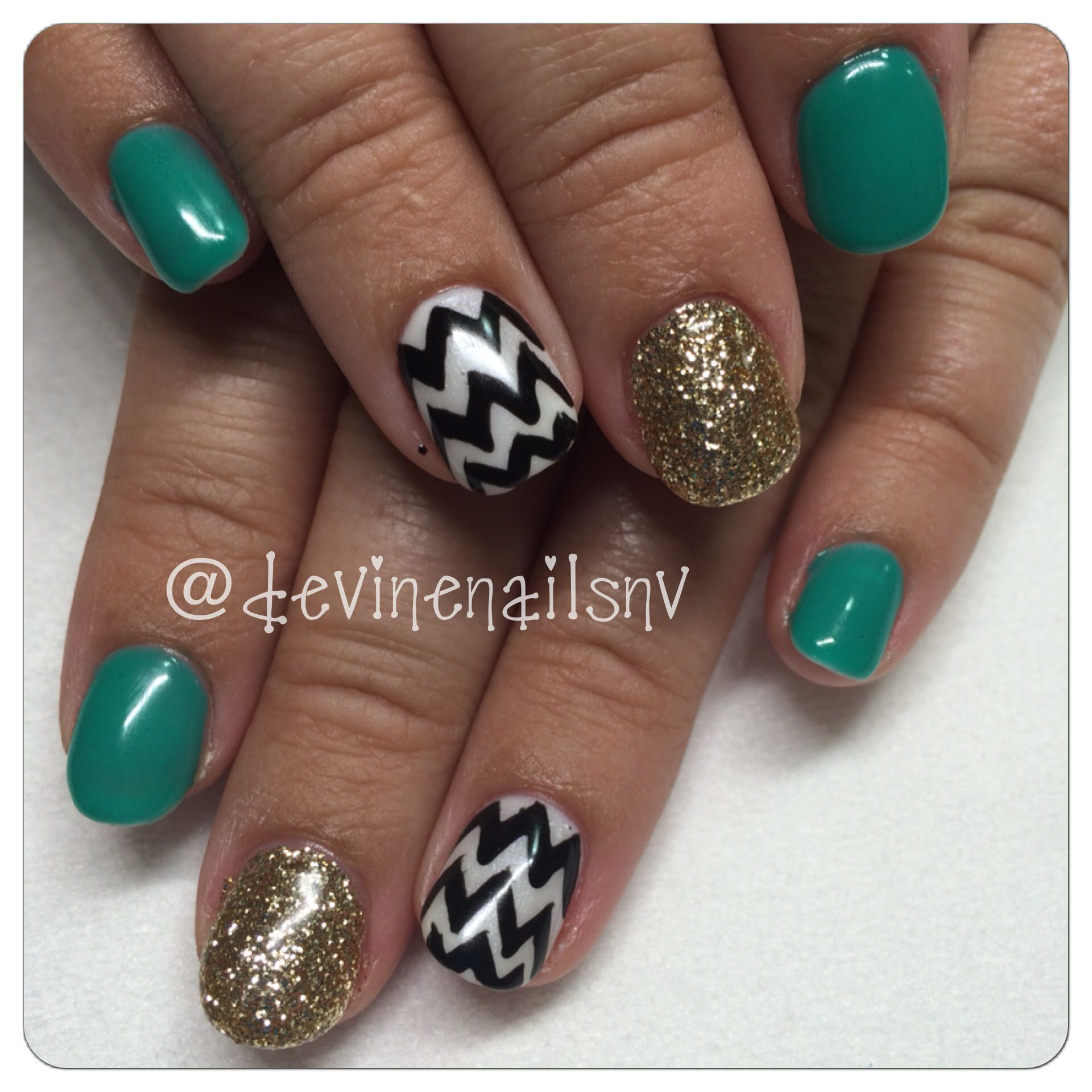 Teal, gold glitter, and black and white chevron print gel nails 2014 @Chelsea Devine