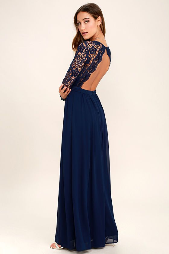7109ee94007 Open your eyes to a world of beautiful possibilities in the Awaken My Love  Navy Blue Long Sleeve Lace Maxi Dress! Crocheted lace elegantly graces the  fitted ...