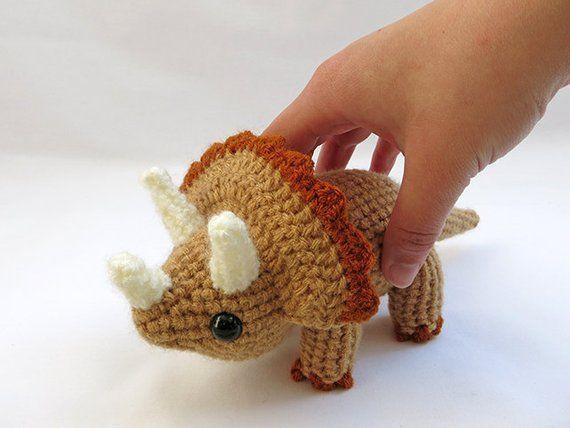 Crochet Dinosaur PATTERN BUNDLE 2 Amigurumi Triceratops | Etsy #crochetdinosaurpatterns
