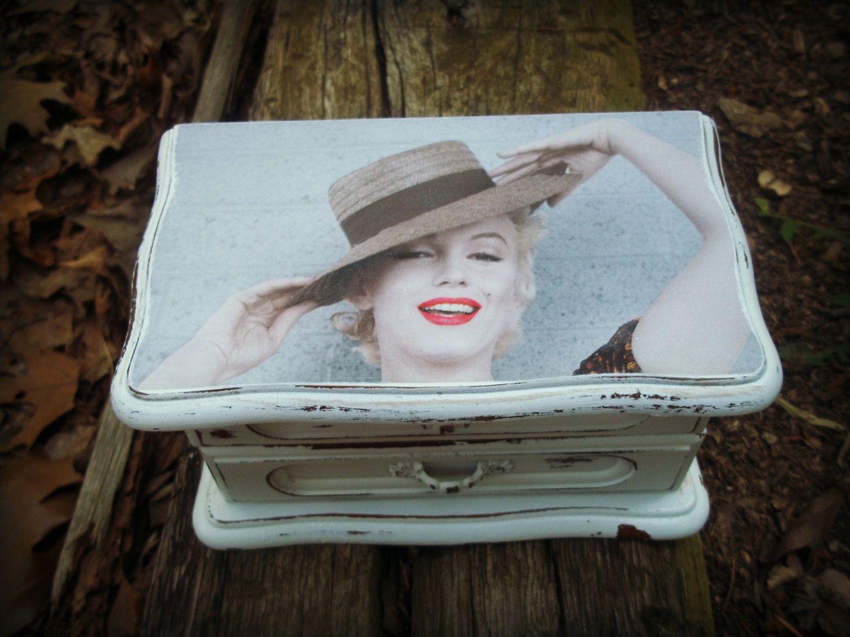 Shabby Chic Marilyn Monroe Jewelry Box by gunspearlsandlace on Etsy