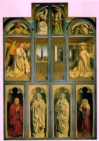 Jan Van Eyck - The Ghent altarpiece (altar wings closed) 1432 (210 Kb); Oil on panel, Each panel 146.2 x 51.4 cm (57 1/2 x 20 1/4 in); Cathedral of St Bavo, Ghent