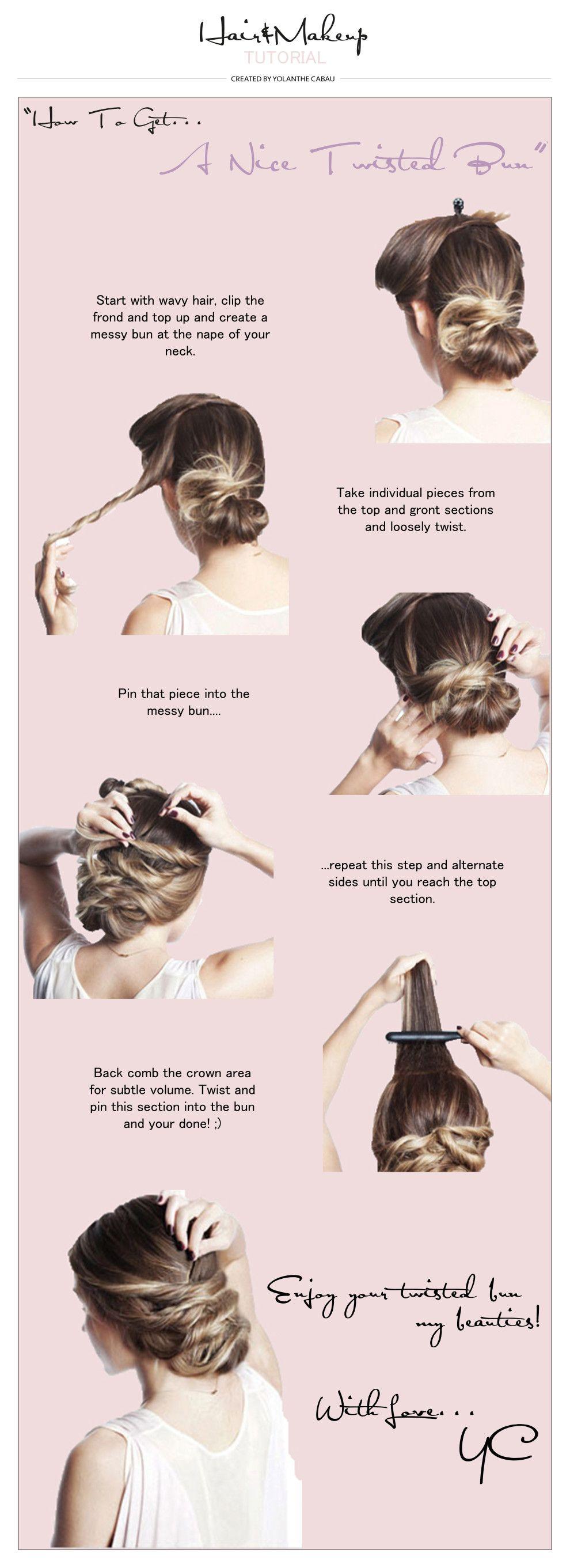 Twisted Bun » Yolanthe Cabau | Mode - Hair styles, Hair en ...