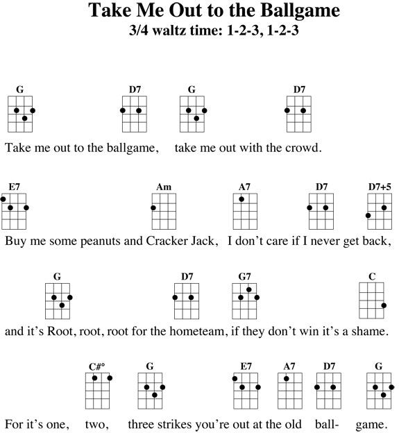 Take Me Out To The Ballgame Ukulele Songs And Chords Pinterest