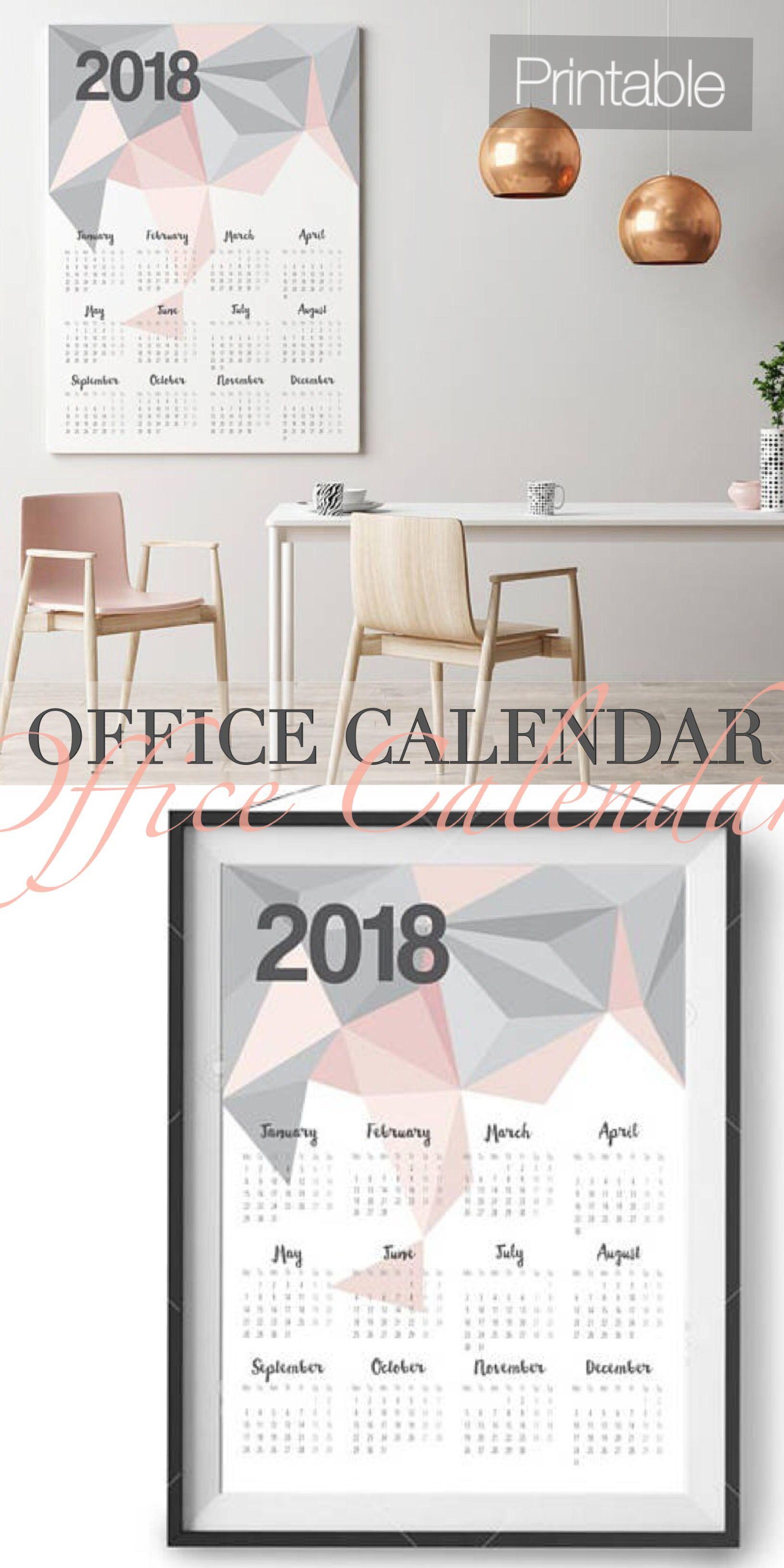 ad Beautiful Modern Office Printable Calendar. Printable 2018 ...