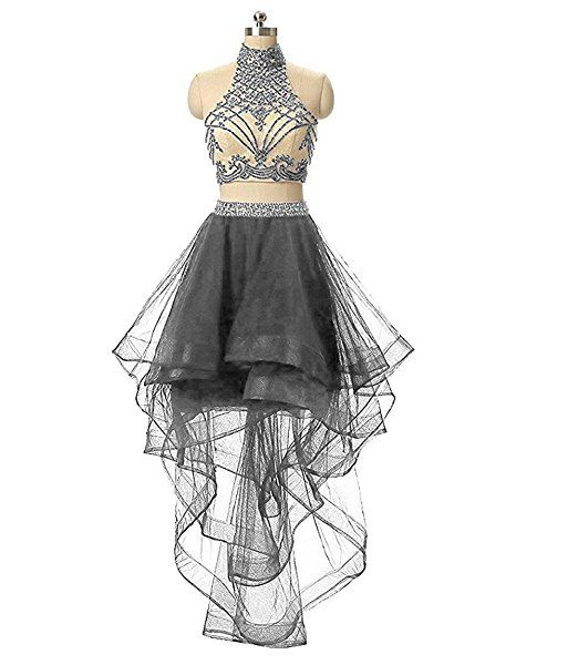 de2bc435df XIA Women s 2 Pieces Beaded Keyhole Back Homecoming Dresses Halter Beading Prom  Gowns Short 2017 at Amazon Women s Clothing store