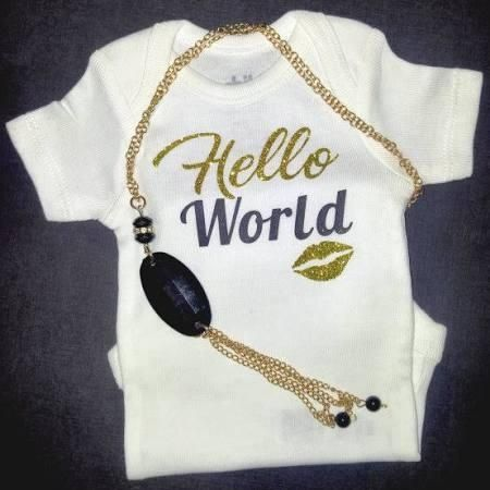 Hello World Kiss Glitter Newborn Baby Girl Onesie Bodysuit Coming Home Outfit FREE Shipping - Brought to you by Avarsha.com