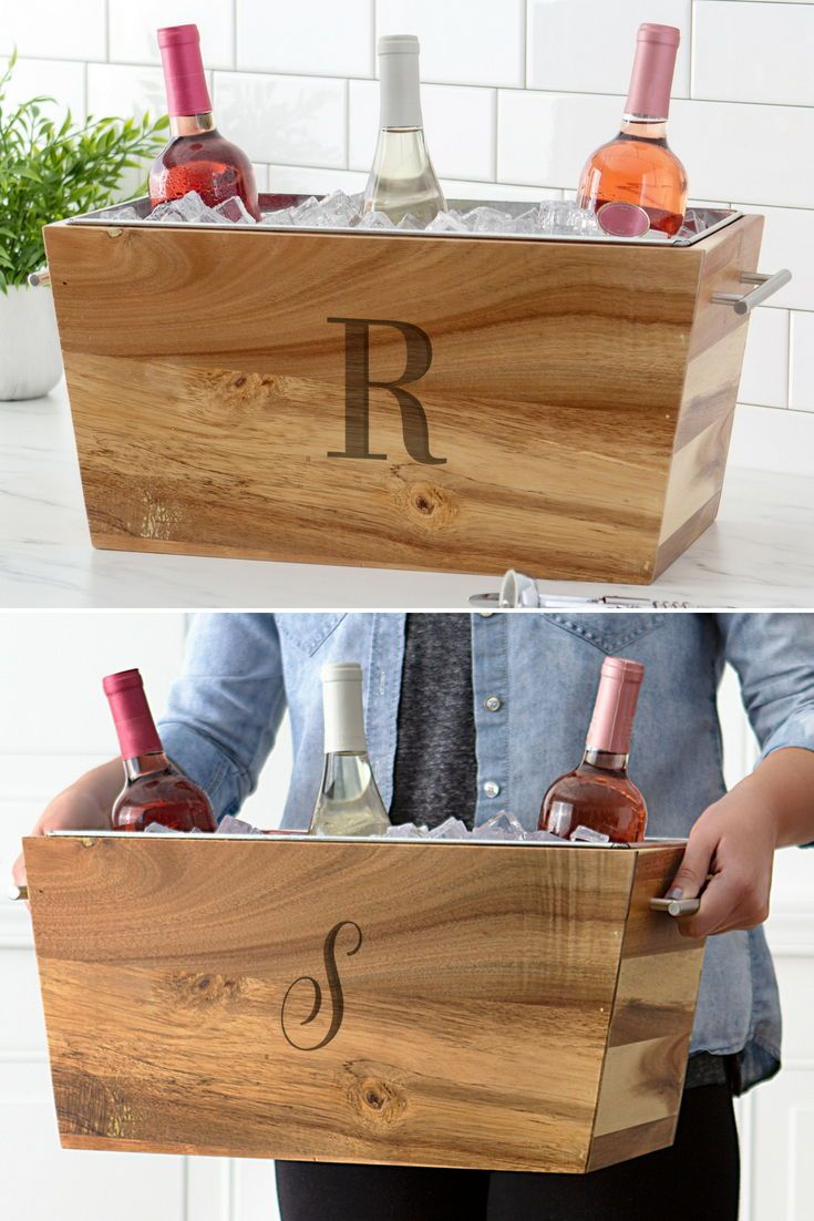 17 x 8 monogrammed rustic wood trough wine chiller gifts
