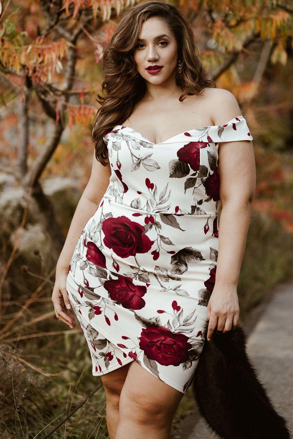 df831728e20e Plus Size Abby Off Shoulder Floral Print Dress Looks Plus Size