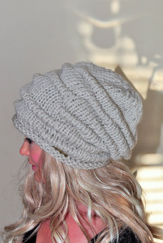937806a461 Women Hat Slouchy Hat Slouch Beanie Striped Hat Hand Knit Winter Adult Hat  Linen Off White Chunky Gift