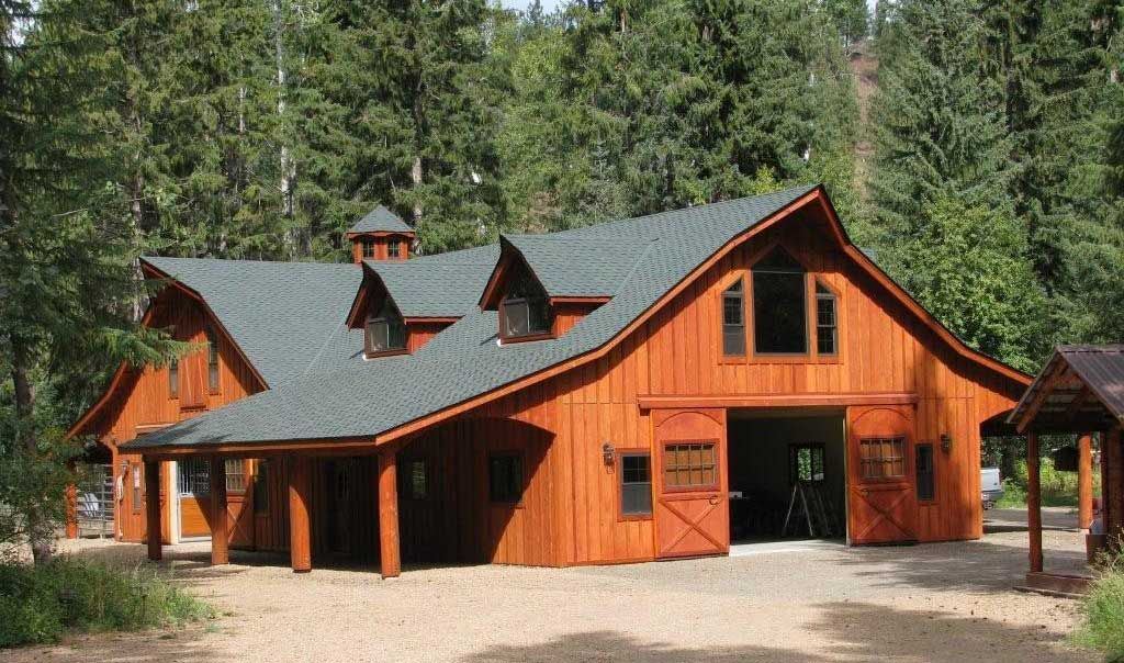 Horse barn with apartment plans the great western style for Barn kits with living quarters