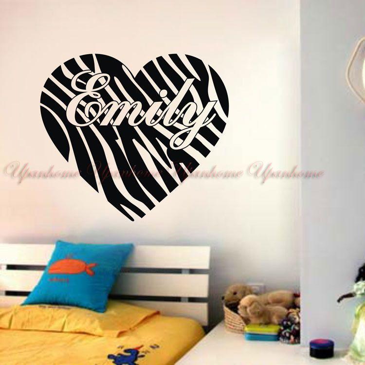 Custom personalized name zebra print heart vinyl wall stickers home decor decal