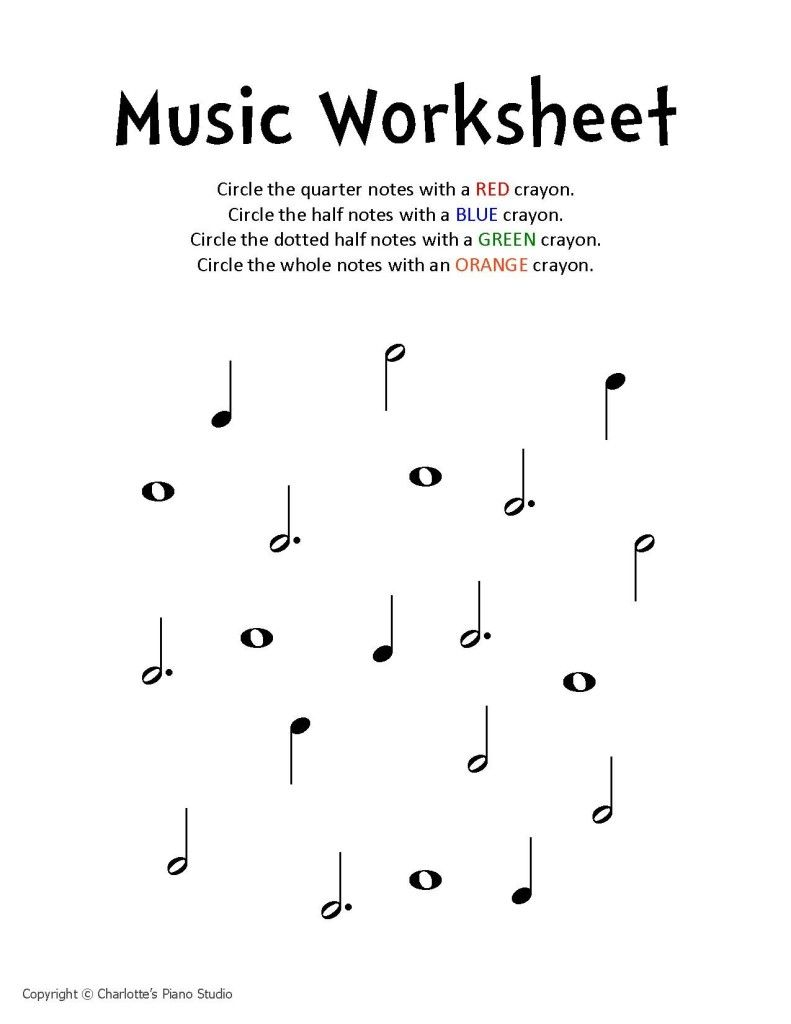 Music Notes Worksheets For Kids Identify Music Notes