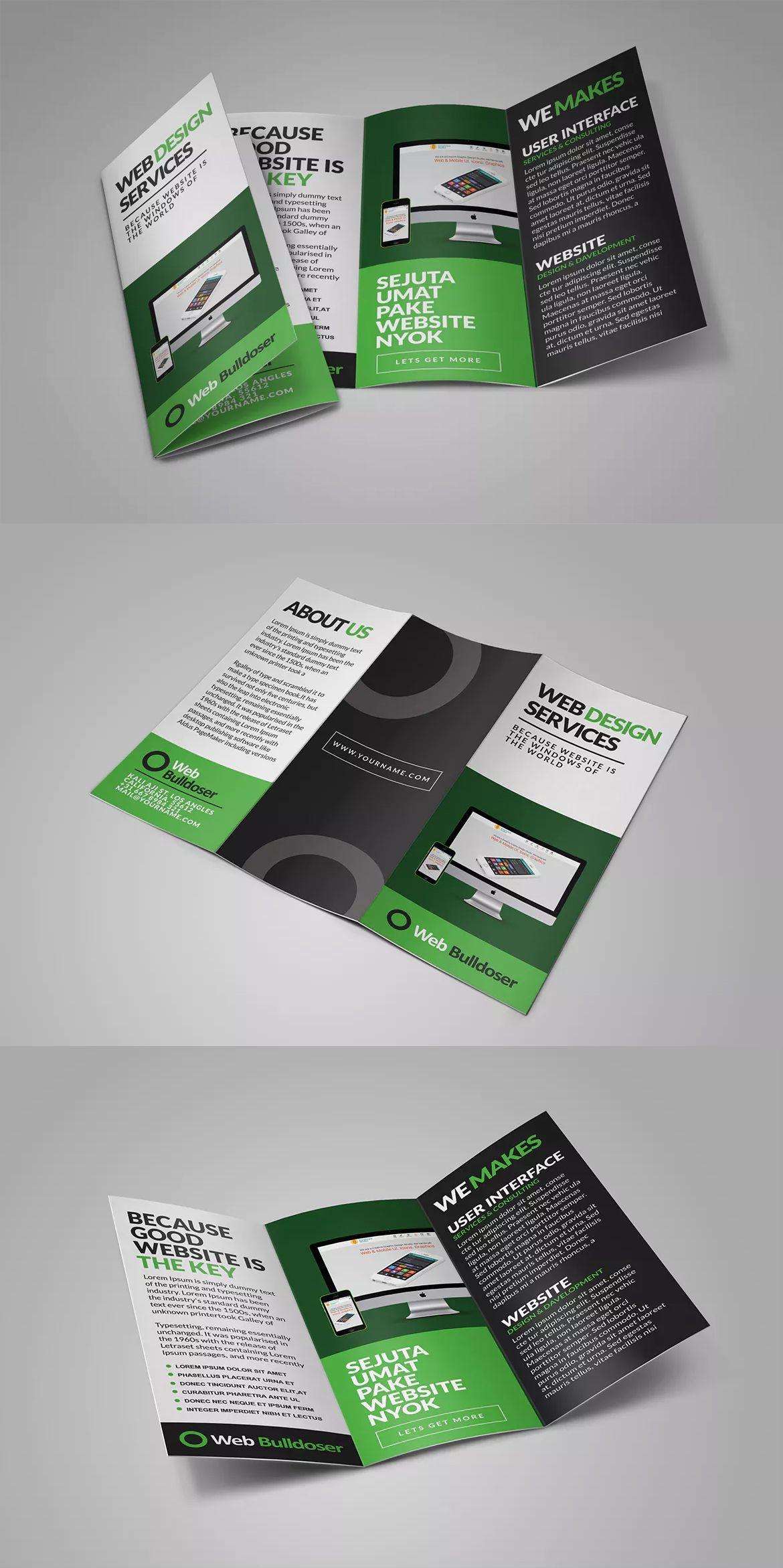 Web Design Trifold Brochure Templates PSD