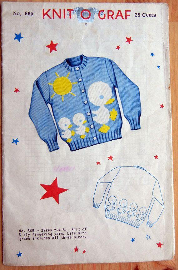 Knit-O-Graf Knitting Pattern - No 865 - Child\'s Cardigan Sweater ...