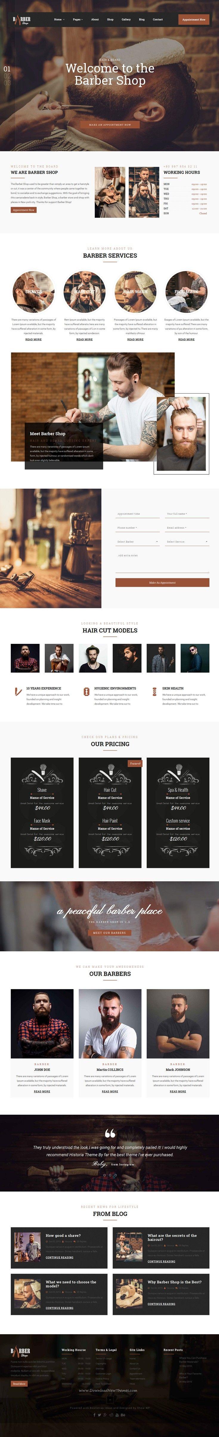 the barber shop is a bootstrap html template design for. Black Bedroom Furniture Sets. Home Design Ideas