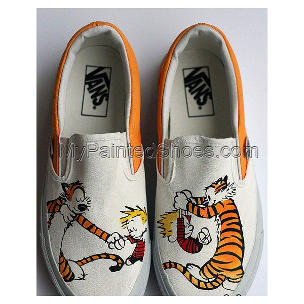 0542d89489 custom Calvin and Hobbes Shoes Slip-on Painted Canvas Shoes