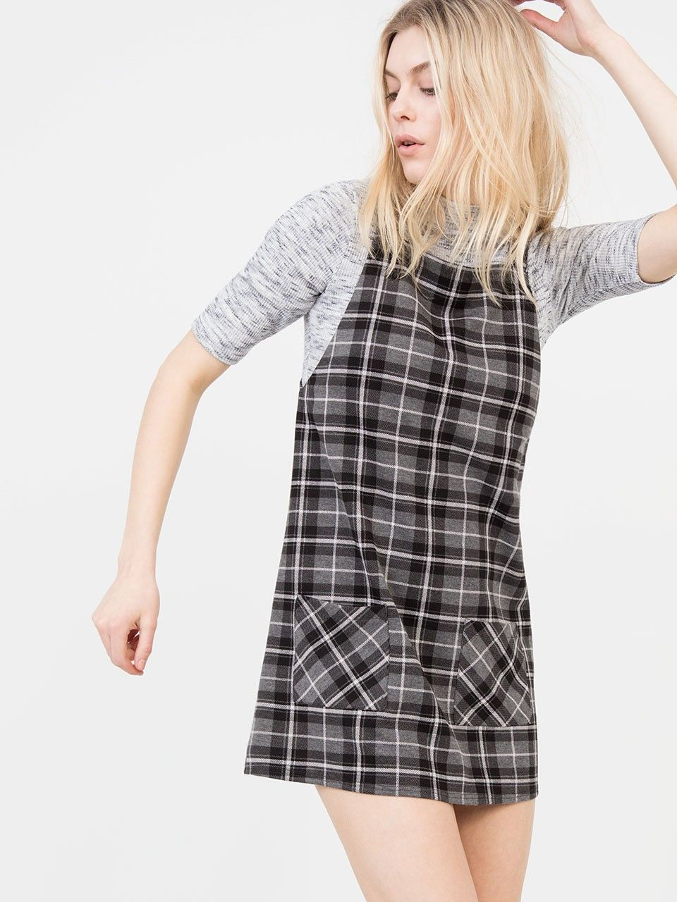 GREY PATTERN CHECK PINAFORE DRESS