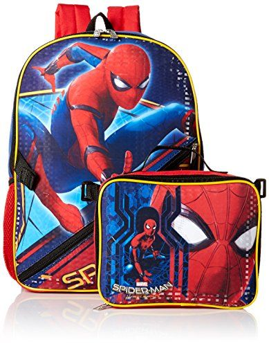 Marvel Spiderman Backpack Clothes, Shoes & Accessories Detachable Pencil Case Travel Lunch Bag Rucksack