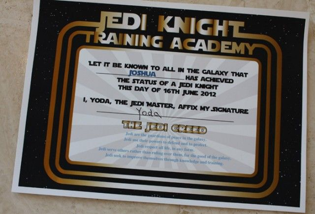 Training certificate training certificate star and star wars party we designed a fun certificate for all of the children to receive after their jedi knight training maureen says yadclub Gallery