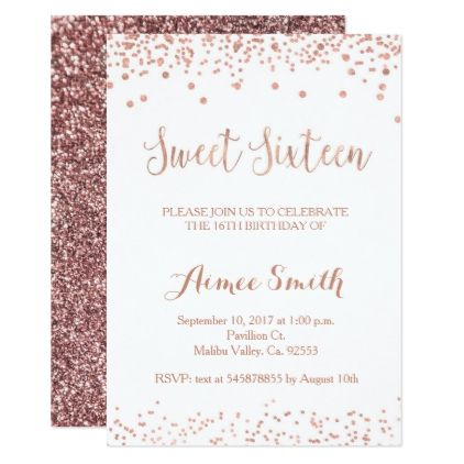 Modern Rose Gold Glitter Sweet 16 Birthday Card