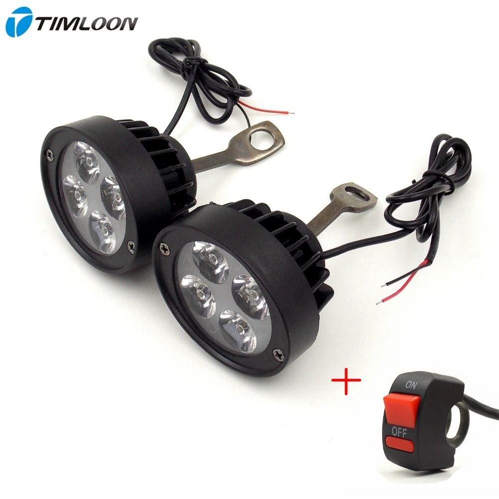 הכי חדש 2 יחידות 12 V 85 V עמיד למים סופר אור אופנועים Led פנס זרקור קטר לסייע מראה מנורה אחורית אור Motorrad Led Scheinwerfer Ruckspiegel Und Led Scheinwerfer