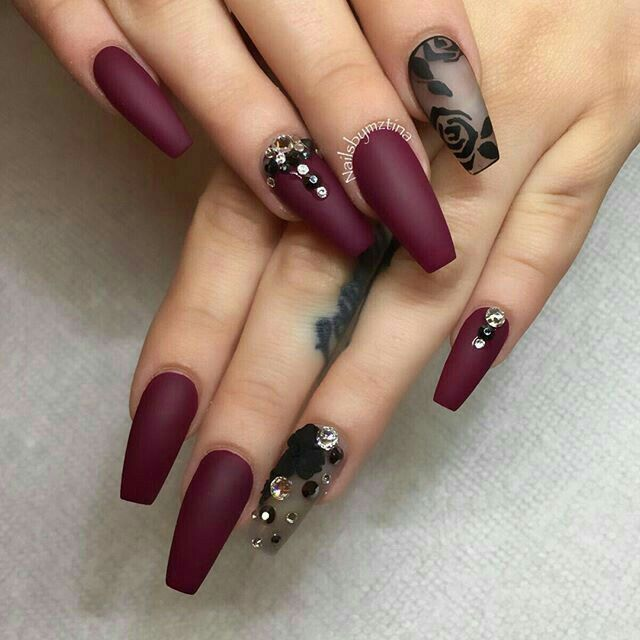 Uñas Acrílico Color Vino Y Negro My Favorite Nails En 2019
