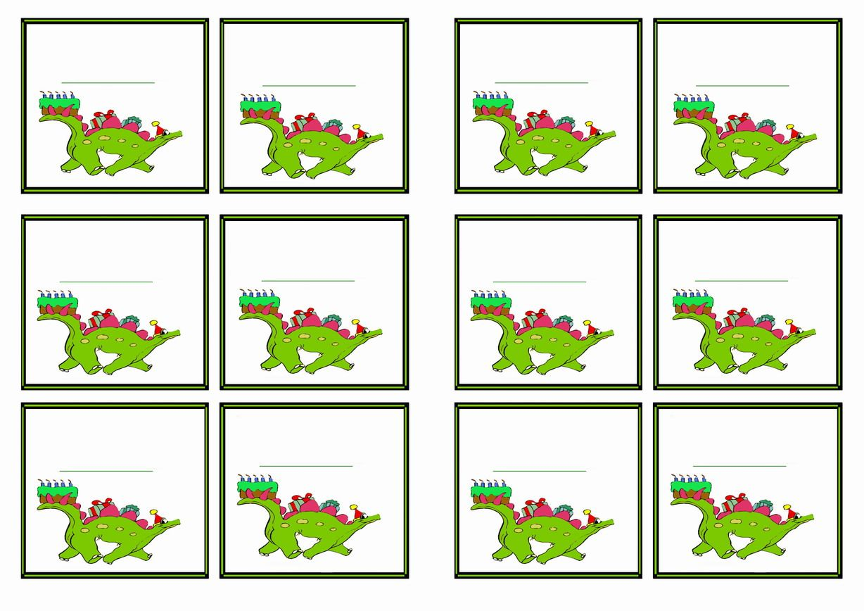 Free Printable Dinosaur Themed Name Tags In