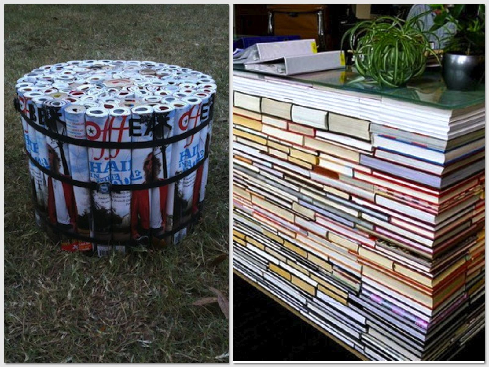 make furniture out of all your magazines and books