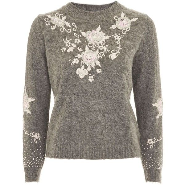 Topshop Petite Fluffy Embroidered Jumper ($65) ❤ liked on