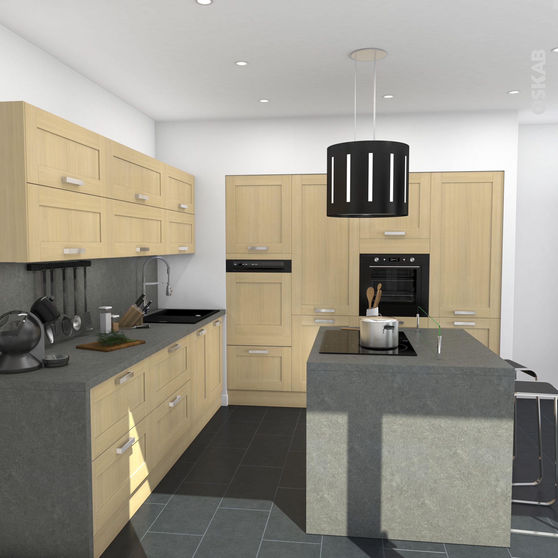 Plan De Travail Avec Jambage cuisine rustique en bois verni avec îlot central, plan de