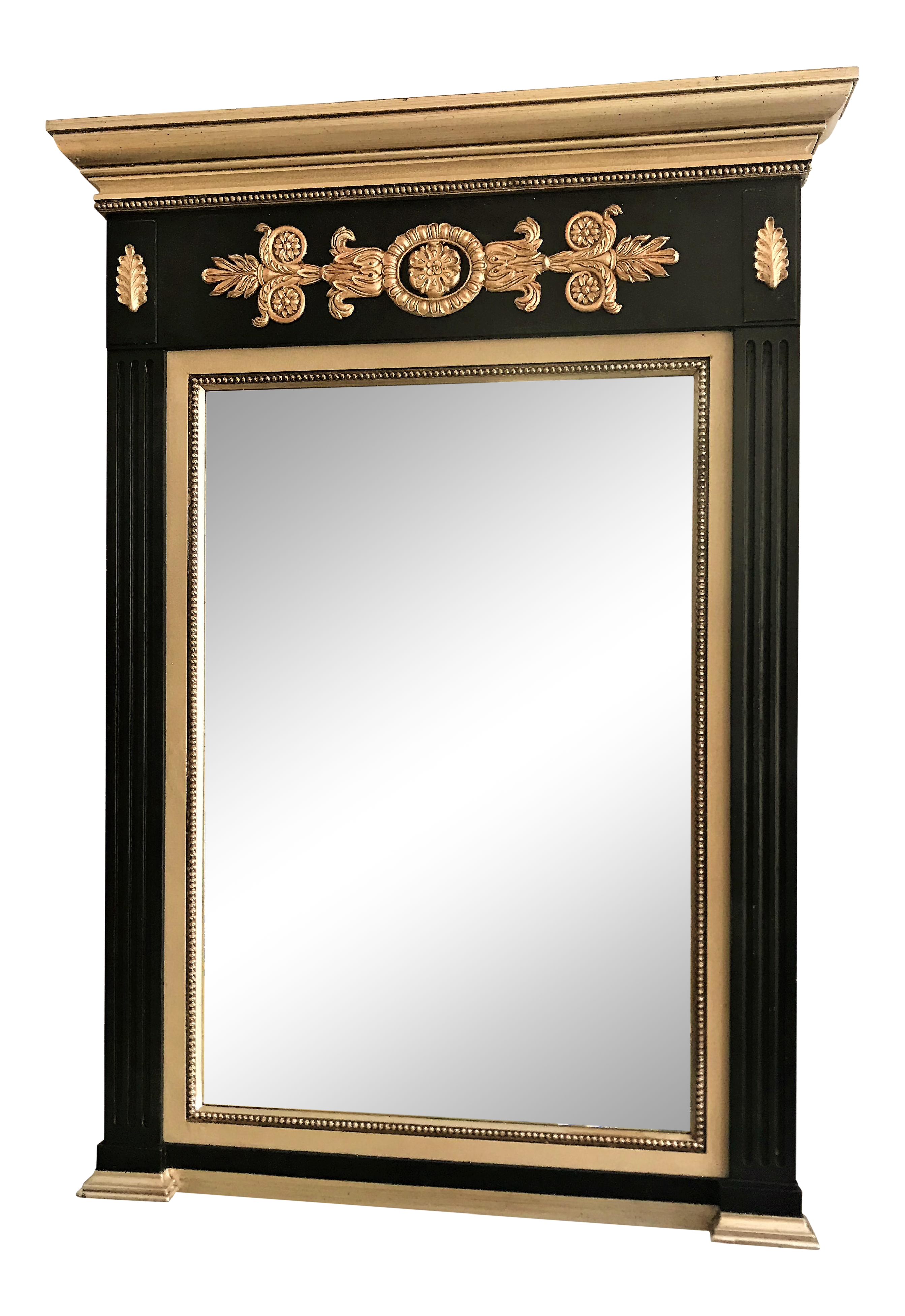 Black And Silver Gilt Look Trumeau Mirror In 2021 Trumeau Mirror Black Mirror Frame Mirror