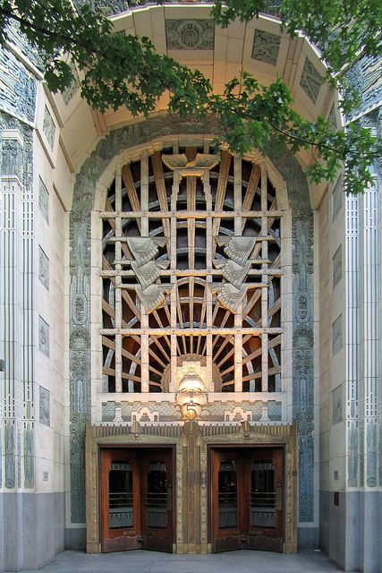 Art deco entrance to the marine building in vancouver canada