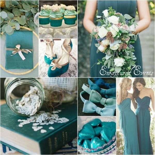 Muted shades of teal combined with ivory, soft gold and a touch of ...