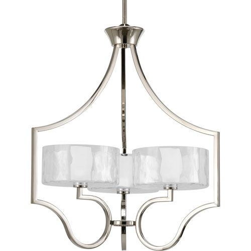 Progress Lighting Caress Polished Nickel Three-Light Chandelier with ...