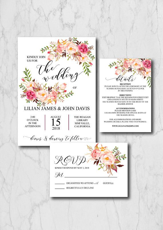 Boho Chic Wedding Invitation Suite Template, Rustic Wedding ...