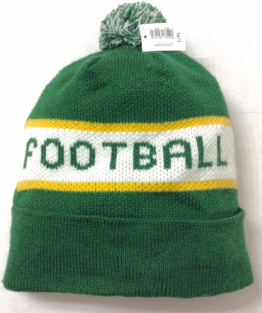Football Pom Beanie Winter Knit Hat Green Yellow Green Bay Packers Colors L Xl Winter Knit Hats Beanie Unisex Hat
