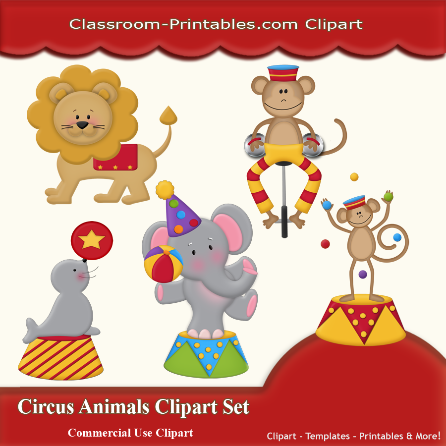 Circus Animals Clipart Set Classroom Printables Store