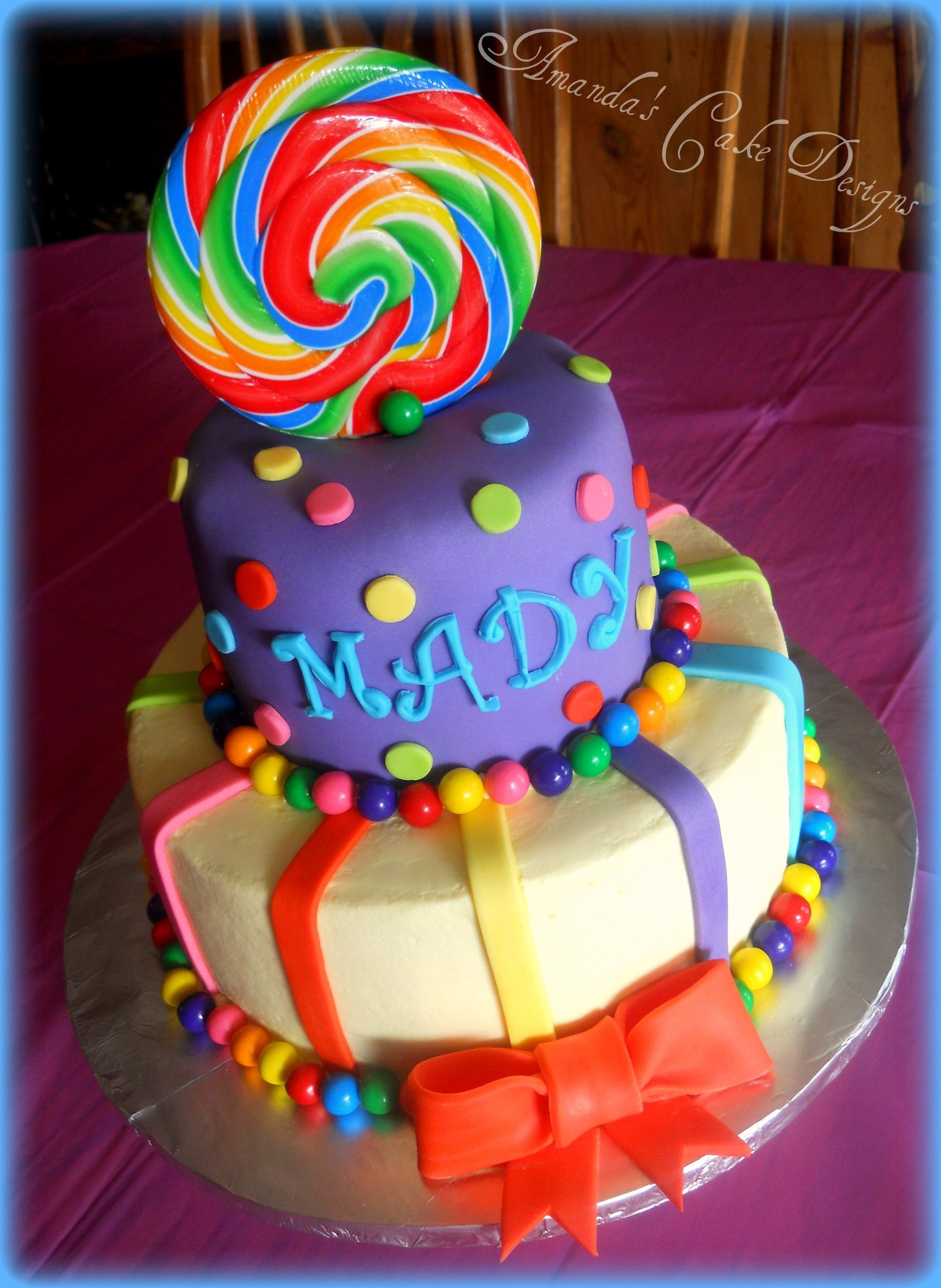 candyland theme cake 1 layer