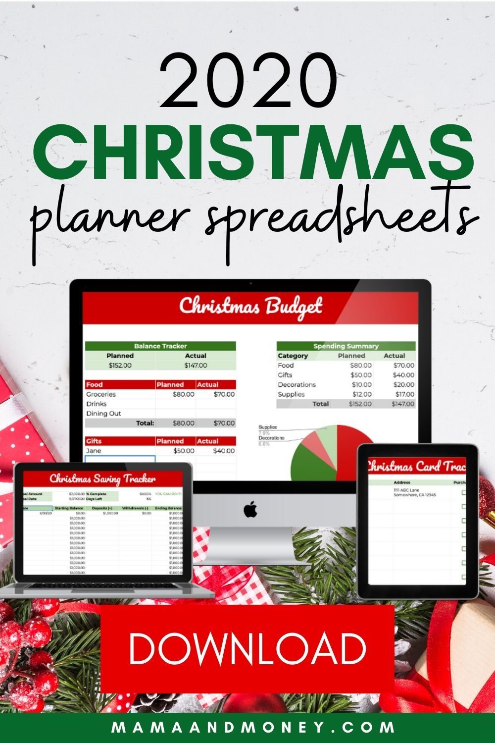 OMG! Have you seen these Christmas budget spreadsheets! They are literally everything that you need to start planning and saving for Christmas. I'm using them for my holiday planning. Check them out! #christmas #budget #christmasbudget #frugal #holidaybudget #christmasplanning #holidayplanner