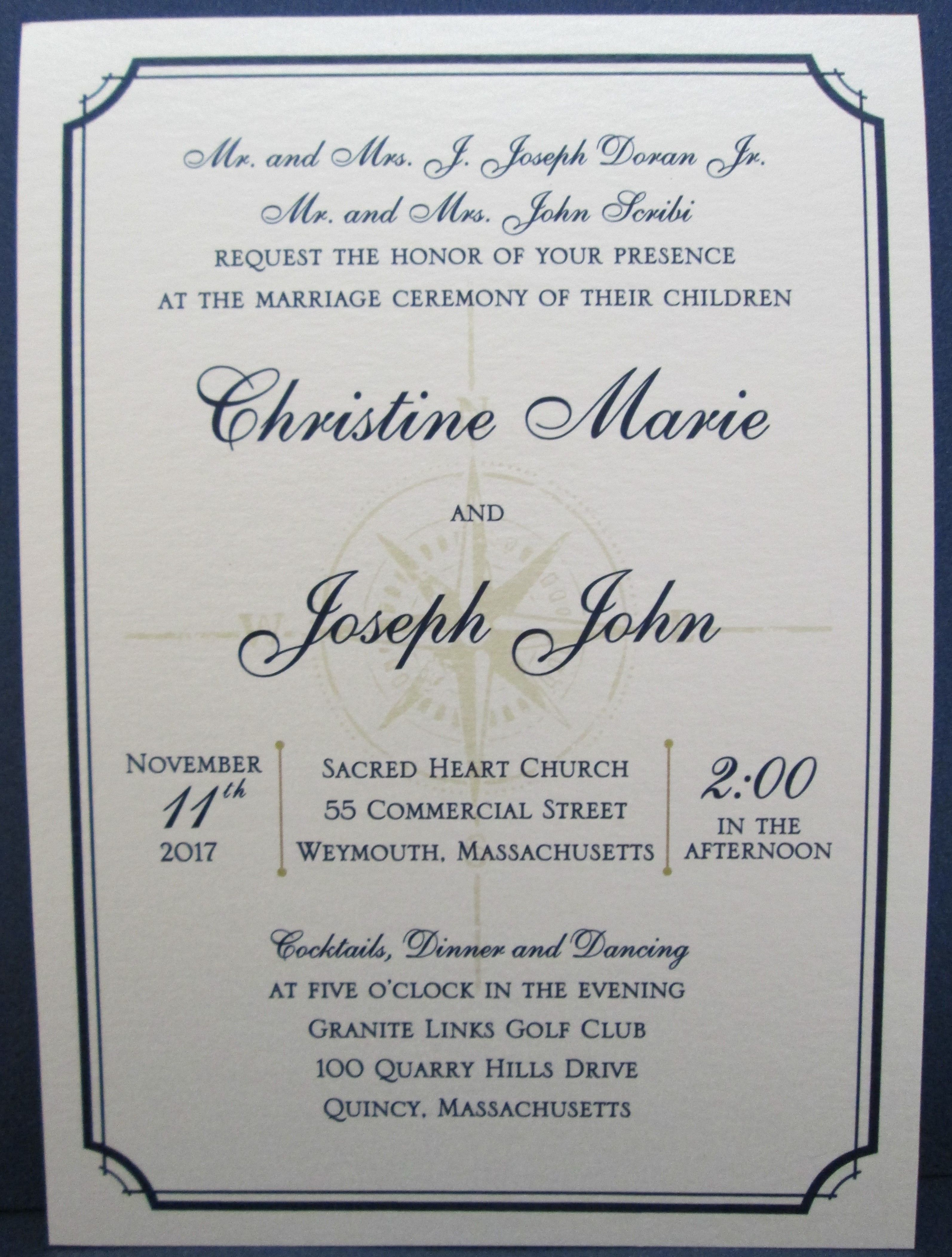 Single layer invitations with compass watermark. Perfect for ...