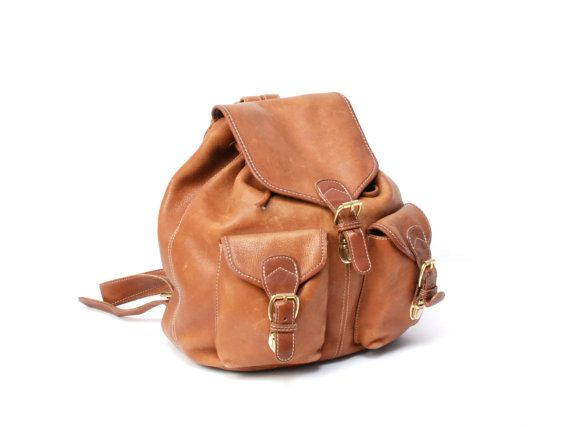 GRUNGE tan leather 80s BACKPACK bohemian LARGE knapsack rucksack purse