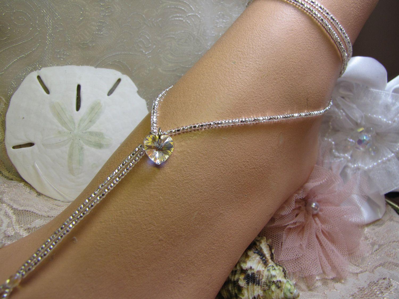 Beach wedding foot jewelry  Mermaid Heart Crystal Wrap Around Beaded Barefoot Sandals Beach