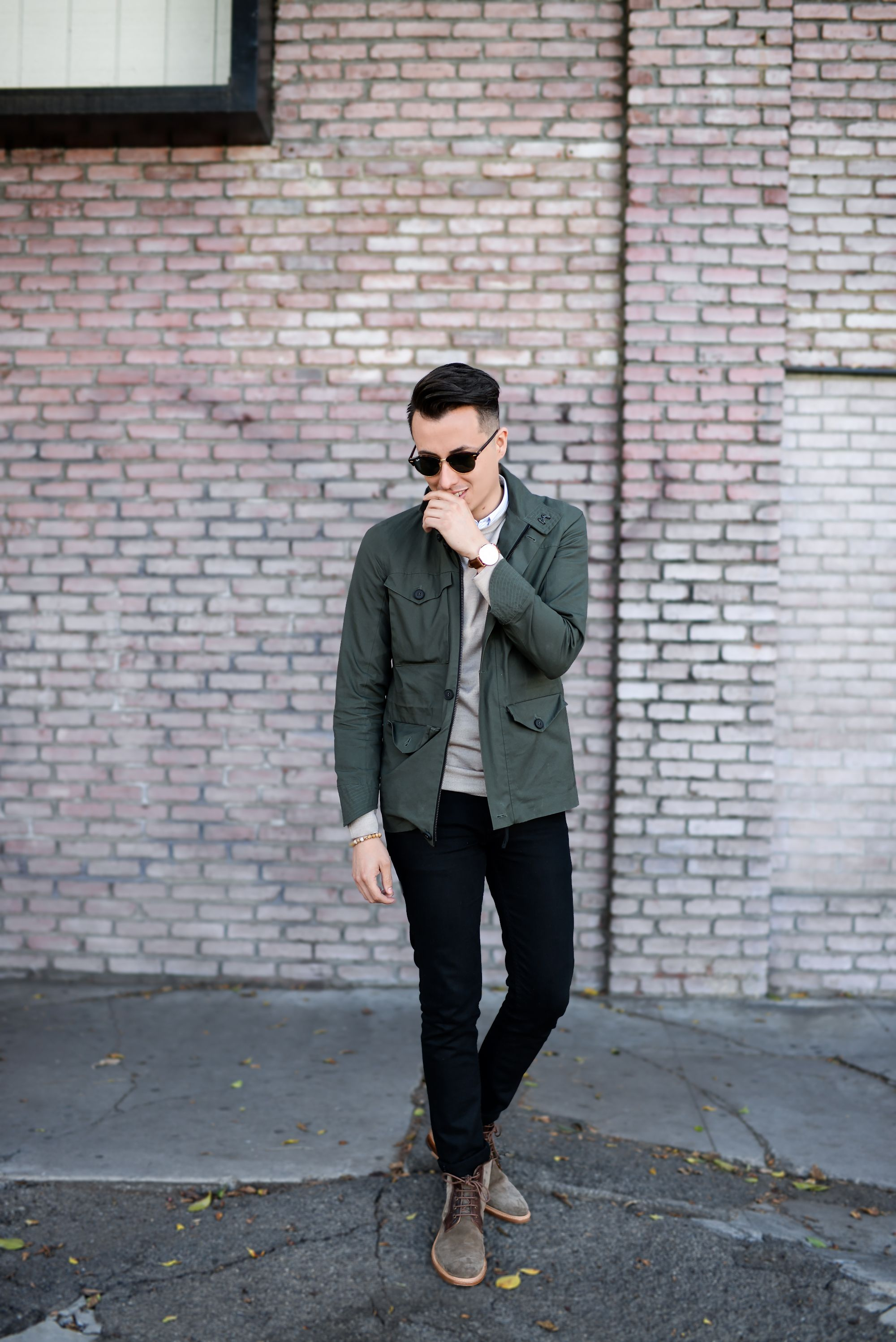 58051822ac1 Army green jacket + tan sweater + black jeans + suede boots