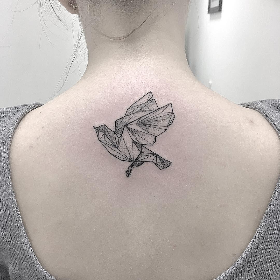 Line Work Paper Bird Tattoo Idea On Back Birds Tattoo Rose Tattoo On Arm Tattoo Sites