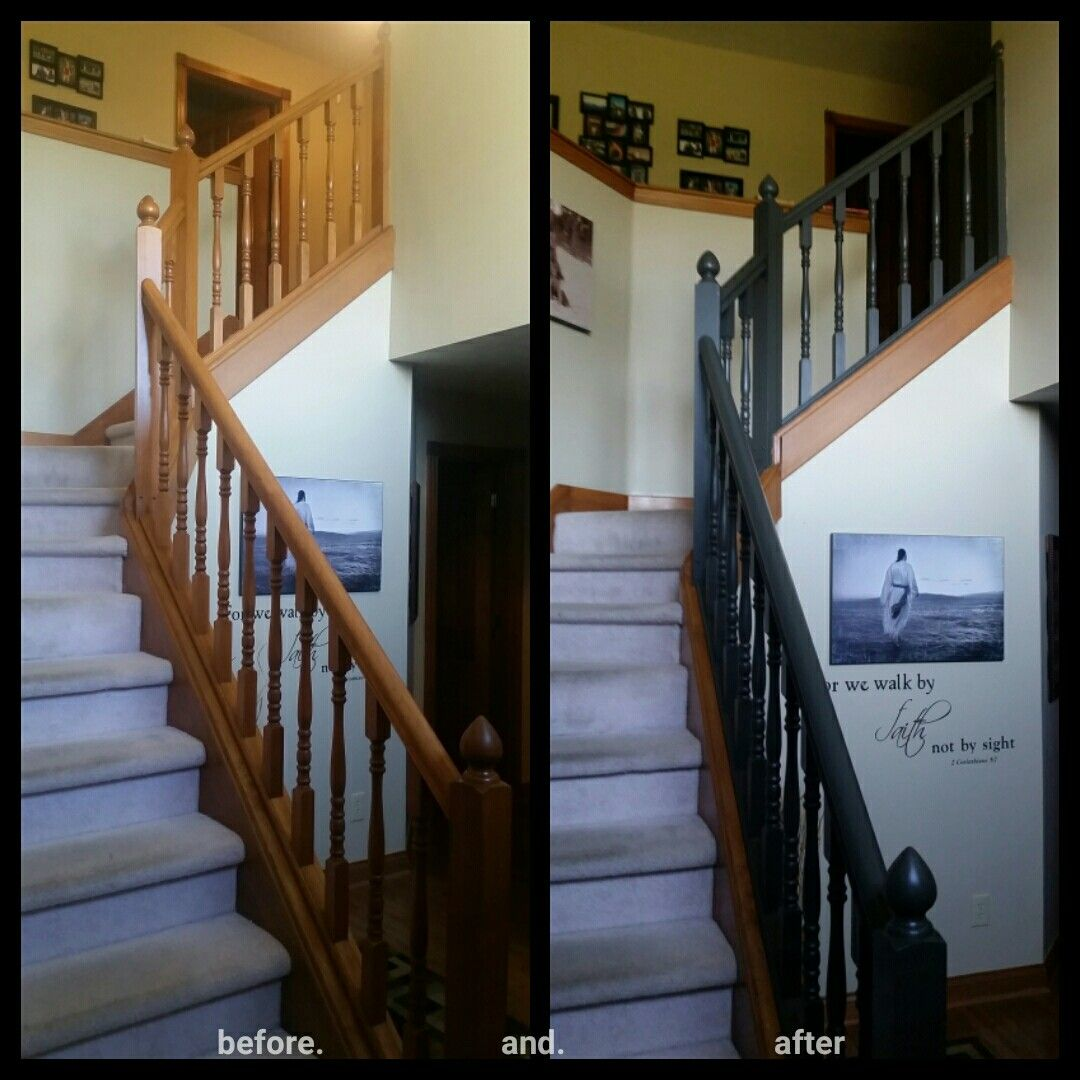 My Honey Oak Staircase Banister Painted With Urbane Bronze