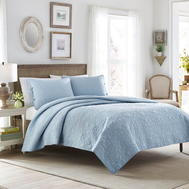 Laura Ashley Felicity Quilt Set Blue - 210428