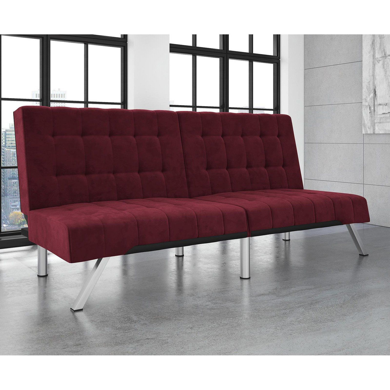 Amazing Dhp Emily Futon Burgundy Velvet Burgundy In 2019 Products Pabps2019 Chair Design Images Pabps2019Com