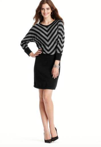 Ann Taylor LOFT: Chevron balllet neck sweaterdress, $34 (+ Extra 40% off all Sale Items)