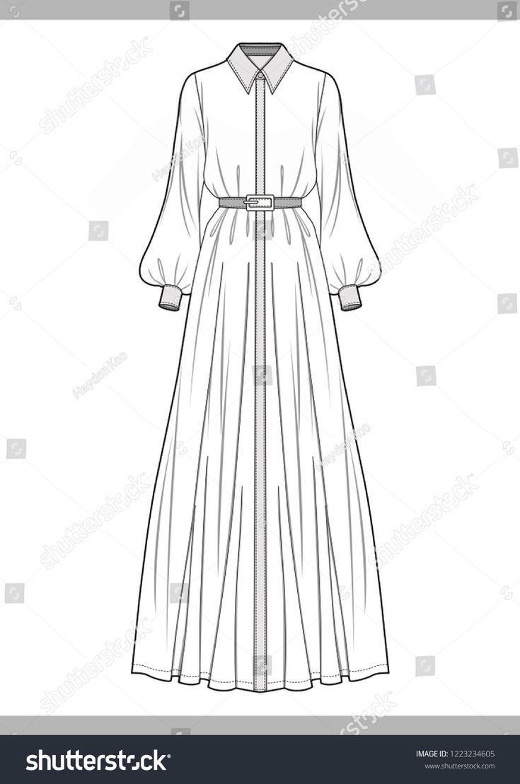 Dress Fashion Technical Drawings Vector Template Tasarimci Giyim Islami Giyim Kiyafet